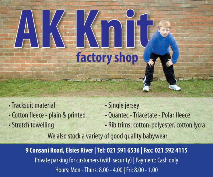 Ak Knit In Elsies River The A Z Of Factory Shops
