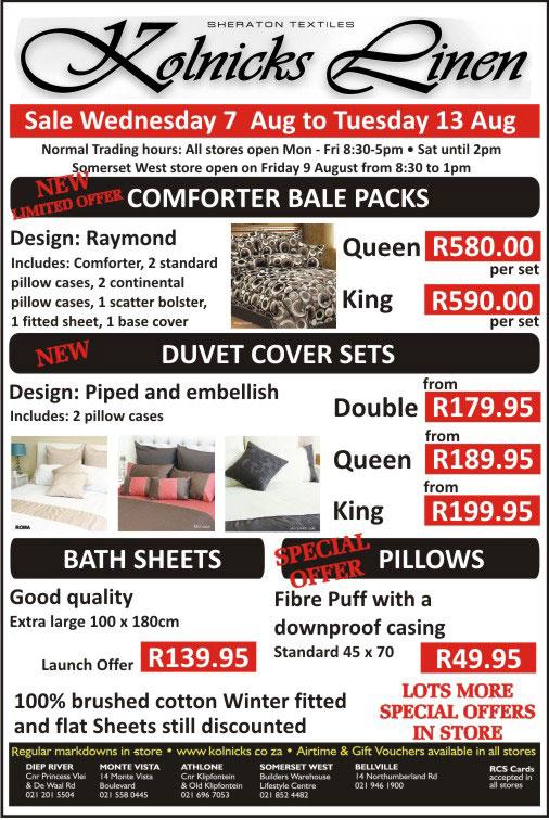 Kolnicks Linen Factory Shop Sale Cape Town The A Z Of
